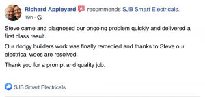 Customer recommends SJB Smart Electricals for fault finding